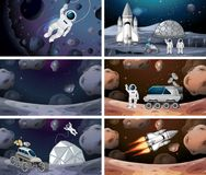 Set of different space scenes. Illustration royalty free illustration