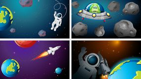 Set of different space scenes. Illustration vector illustration