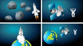 Set of different spaces scenes. Illustration royalty free illustration