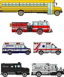 Set of different special cars. Vector illustration Royalty Free Stock Images