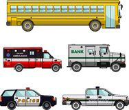 Set of different special cars. Vector illustration. Silhouette illustration of special machines on white background Stock Photos