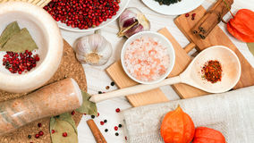 Set of different spices. And marble mortar for grinding spices Stock Photos