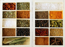 Set of different spices (pepper, salt, turmeric, bay leaves, chili, herbs) Royalty Free Stock Image