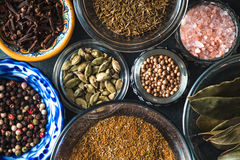 Set of different spices and salt close up Stock Images