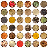 Set of different spices in wooden bowl. Top view. Stock Images