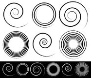 Set of different spirals with stroke profile Royalty Free Stock Images