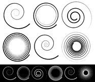 Set of different spirals with stroke profile Stock Images