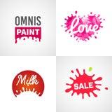 Set of different splatter vector design elements Royalty Free Stock Image