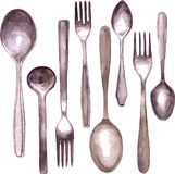 Set of different spoons and forks Stock Photography