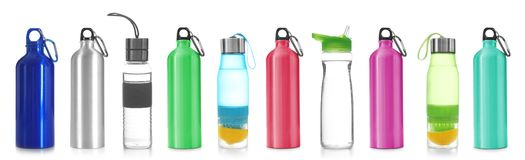 Set with different sport bottles. On white background stock image