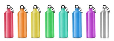 Set with different sport bottles. On white background royalty free stock image