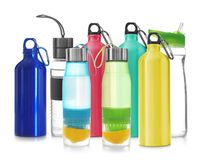 Set with different sport bottles. On white background royalty free stock images