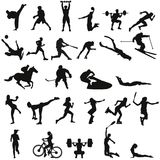 Set of different sports silhouettes Stock Image