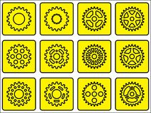 Sprocket wheel icons. Set of different sprocket wheels icons Royalty Free Stock Image