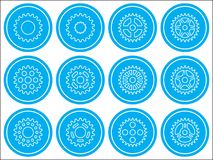 Sprocket wheel icons. Set of different sprocket wheels icons Royalty Free Stock Photography