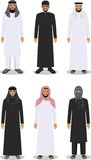 Set of different standing arab men in the traditional muslim arabic clothing  on white background in flat style Stock Image