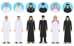 Set of different standing arab old men in the traditional muslim arabic clothing in flat style. Muslim, arabic clothing Royalty Free Stock Photography