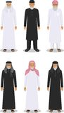 Set of different standing arab old men in the traditional muslim arabic clothing  on white background in flat Stock Images