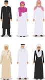 Set of different standing arab old people in the traditional muslim arabic clothing  on white background in flat Royalty Free Stock Photo