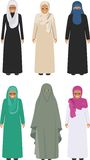 Set of different standing arab old women in the traditional muslim arabic clothing  on white background in flat Royalty Free Stock Photo