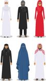 Set of different standing arab people in the traditional muslim arabic clothing isolated on white background in flat Stock Photo