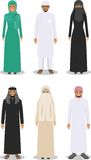 Set of different standing arab people in the traditional muslim arabic clothing  on white background in flat Royalty Free Stock Image