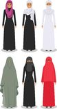 Set of different standing arab women in the traditional muslim arabic clothing  on white background in flat Royalty Free Stock Images