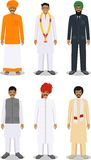 Set of different standing indian men in the traditional clothing isolated on white  Stock Images