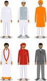 Set of different standing indian men in the traditional clothing  on white background in flat style. Differences Royalty Free Stock Images