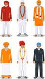 Set of different standing indian old men in the traditional clothing isolated on white background in flat style Stock Image