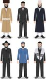 Set of different standing jewish men in the traditional clothing  on white background in flat style. Differences Stock Image