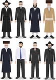 Set of different standing jewish old and young men in the traditional clothing isolated on white background Stock Photography