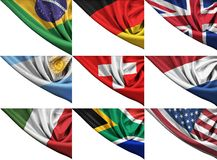 Set of different state flags including USA, UK,. Germany, Italy, RSA, etc royalty free illustration