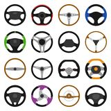 Set of different steering wheels icons isolated on white background. Car wheel control, auto part driving in flat style. Vector illustration royalty free illustration