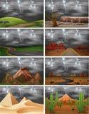 Set of different storm scenes. Illustration vector illustration