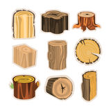Set of different stump trees. Wooden materials vector Illustrations. Isolated on white background Stock Images