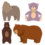 Different style bears funny happy animals cartoon predator cute character vector illustration. Set of different style bears animals isolated. Brown, white, panda Royalty Free Stock Photo