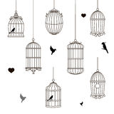 Set of different style bird cage Royalty Free Stock Photo
