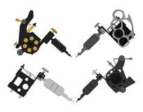 Set of 4 different style tattoo machines. No. Set of 4 different style realistic tattoo machines icons. Revolver tattoo machine, knuckle duster tattoo gun. Color Royalty Free Stock Image