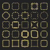 Set of different styles golden line emblems and frames design elements. On black background Stock Photo