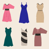 Set of different styles women dresses Stock Photography
