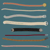 Set of different stylish belts. Stock Image