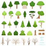 Set of different forest, tropical and dry trees, bushes, stumps, logs and clouds. Vector illustration. Set of different stylish forest, tropical and dry trees royalty free illustration