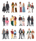 Set of different subculture.. Couple rapper, hipster, punk, rocker, hippie, goth, emo, historical reenactors, metalhead, biker rastaman Girl and guy in flat Royalty Free Stock Photo