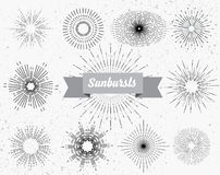 Set of different sunbursts Stock Photography