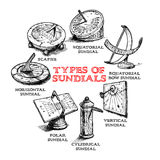 Set of different sundials Royalty Free Stock Image