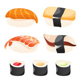 Set of different sushi. Different sushi on a white background Stock Photo
