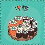 Set of different sushi rolls Maki or Makizushi Royalty Free Stock Photo