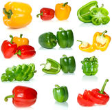 Set of different sweet peppers. Isolated on the white background Stock Image