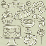 Set of different sweetmeats Stock Images
